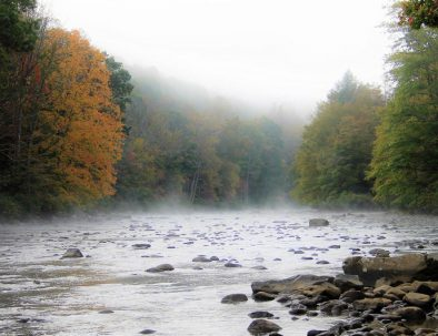 The Youghiogheny River during fall - river haze