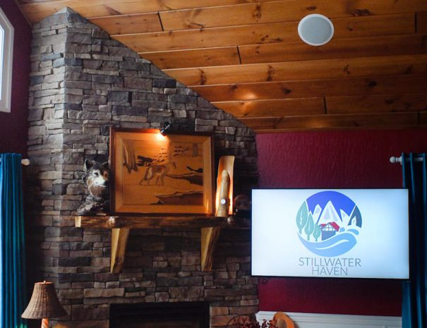 Gas Burning Fireplace in Main Level Dining Area