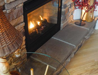 Gas Fireplace in Main Level Dining Area
